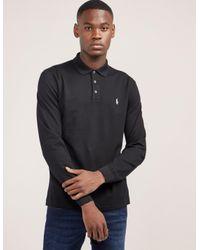 5b8248fc80e6 Lyst - Polo Ralph Lauren Stretch Long Sleeve Polo Shirt in Black for Men