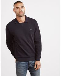 Fred Perry V Insert Waffle Long Sleeve Polo Shirt Black for men