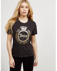 58a91a78e Lyst - Juicy Couture Womens Crown Short Sleeve T-shirt Black in Black