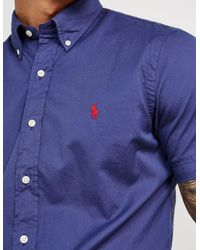 Polo Ralph Lauren - Mens Chino Short Sleeve Shirt Navy Blue for Men - Lyst