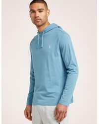 9f64f7f0c Polo Ralph Lauren Mens Long Sleeve Hooded T-shirt Blue in Blue for ...