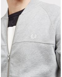 Fred Perry - Gray Mens Panelled Fleece Bomber Track Top Grey Marl/grey Marl for Men - Lyst