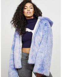 a350432347ff Lyst - PUMA Womens X Fenty Faux Fur Bomber Jacket Blue in Blue
