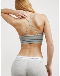 Calvin Klein - Gray Womens Striped Bralette - Online Exclusive Grey - Lyst
