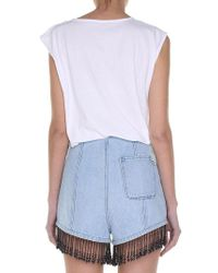 Balmain - White And Silver Jersey Top With Logo - Lyst