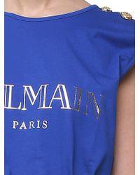 Balmain - Blue Jersey Top With Logo - Lyst