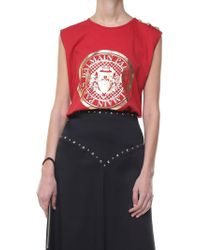 Balmain - Red Top With Laminated Logo - Lyst