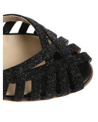Anniel - Black Glitter Sandals - Lyst