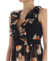 L'Autre Chose - Black Floral Print Dress - Lyst