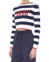 Alberta Ferretti - Blue Today's Crop Cotton Sweater - Lyst