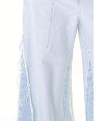 Chloé - Light Blue Wide Denim Jeans With Fringed Edges - Lyst