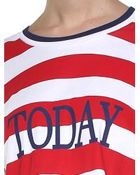 Alberta Ferretti - Red And White Striped Crop Today T-shirt - Lyst