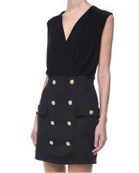 Balmain - Black Dress With Golden Buttons - Lyst