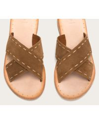 Frye - Brown Avery Pickstitch Slide - Lyst