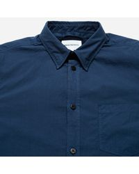 Norse Projects | Blue Anton Garment Dyed Poplin Short Sleeve Shirt for Men | Lyst