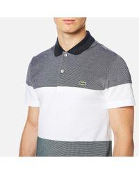 Lacoste   Gray Block Stripe Polo Shirt for Men   Lyst