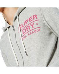 Superdry - Gray Athletic League Loopback Zip Hoody - Lyst