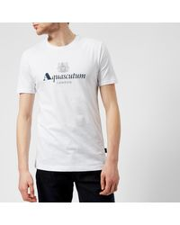 Aquascutum - White Griffin Crew Neck Logo Short Sleeve T-shirt for Men - Lyst