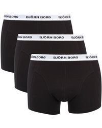 Björn Borg - Black Three Pack Solid Boxer Shorts With Contrast Colour Waistband for Men - Lyst