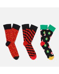 Happy Socks | Red Holiday Giftbox 3 Pack Socks for Men | Lyst