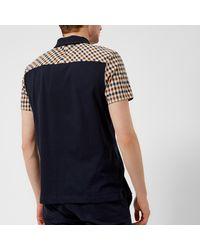 Aquascutum - Blue Rutland Vicuna Detail Short Sleeve Polo Shirt for Men - Lyst