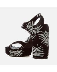Sol Sana - Black Cathy Palm Embroidered Platform Heeled Sandals - Lyst