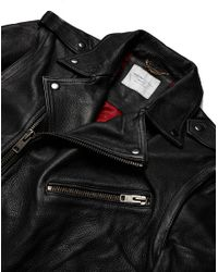 SELECTED - Black Greaser Leather Biker Jacket for Men - Lyst