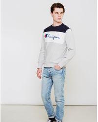 Champion | Blue Panel Crew Neck Sweatshirt Grey for Men | Lyst