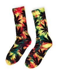 Huf - Tiedye Plantlife Rainbow Crew Sock Yellow for Men - Lyst