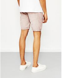 The Idle Man - Broken Twill Garment Dyed Shorts Pink for Men - Lyst