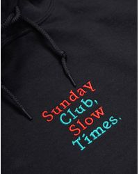 The Idle Man - Sunday Club Slow Times Embroidery Over Head Hoodie Black for Men - Lyst