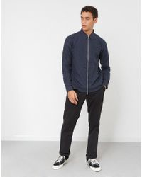 Farah - Blue Cromwell Zip Through Shirt Navy for Men - Lyst