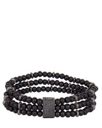 Icon Brand - Black Triple Bead Bracelet for Men - Lyst