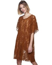 MM6 by Maison Martin Margiela - Brown Oversized Chenille Lace Dress - Lyst