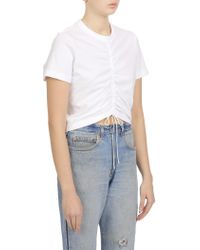 T By Alexander Wang - White High Twist Gathered Front S/s Tee - Lyst