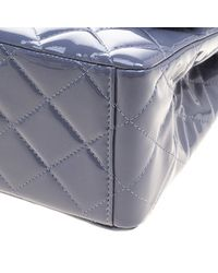 Chanel - Gray Quilted Patent Leather Maxi Classic Double Flap Bag - Lyst