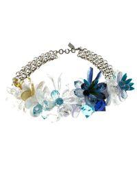 Missoni - Blue Crystal Flower Silver Tone Necklace - Lyst