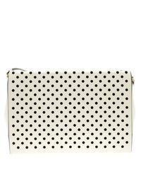 Stella McCartney - White Off Polka Dot Laser Cut Out Faux Leather Shoulder Bag - Lyst