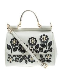 8f751bb5b9 Dolce   Gabbana Off Leather Medium Jewel Embellished Miss Sicily Top ...