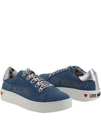 Moschino Love Denim Blue Fabric Platform Sneakers Size 35
