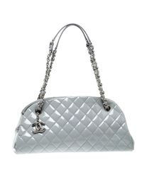 Chanel Light Quilted Leather Just Mademoiselle Bowling Bag in Gray ... a918a6f085424