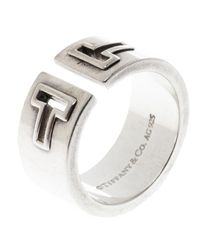 Tiffany & Co - Metallic T Cutout Open Band Ring - Lyst