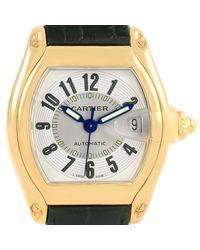 Cartier - Metallic Silver 18k Yellow Gold Large Roadster Men's Wristwatch 37mm for Men - Lyst