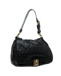 Marc By Marc Jacobs - Black Dreamy Logo Leather Puckered Mouse Hobo - Lyst