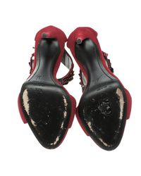 Giuseppe Zanotti - Red Cherry Embellished Suede Peep Toe Sandals - Lyst