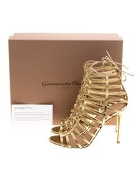 d912eac83 Lyst - Gianvito Rossi Metallic Leather Roxy Lace Up Caged Sandals in ...