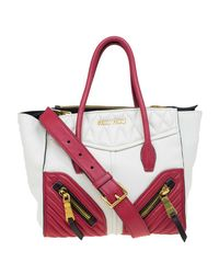 5abdb6082f0 Lyst - Miu Miu Off  red Matelasse Leather Biker Tote in White