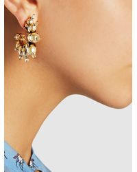 Erickson Beamon | Metallic Gold-plated Pearl Embellished Hoop Earrings | Lyst