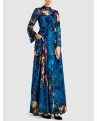 Long Sleeve Silk Floral Print Maxi Dress Alberta Ferretti MIYgJ