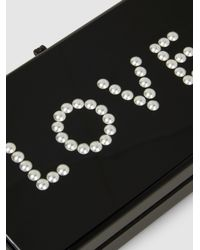 Edie Parker - Black Jean Love Embellished Acrylic Box Clutch - Lyst